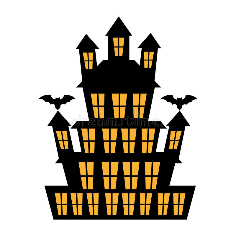 Μεγάλο συχνασμένο σπίτι με τα ρόπαλα πέρα από τα άσπρα κινούμενα σχέδια υποβάθρου διανυσματική απεικόνιση