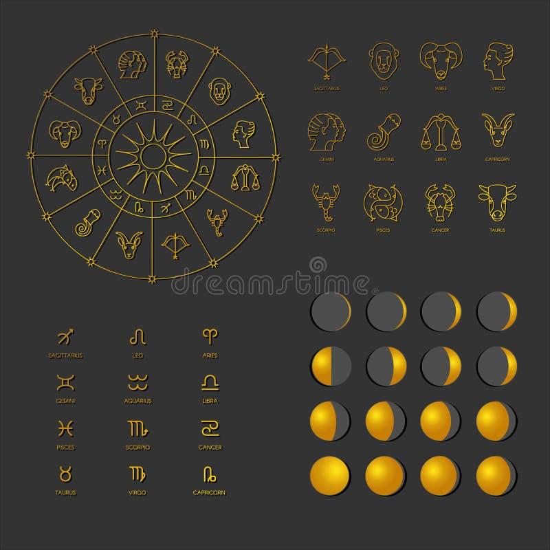 Μεγάλο σύνολο αστρολογικών συμβόλων διανυσματική απεικόνιση