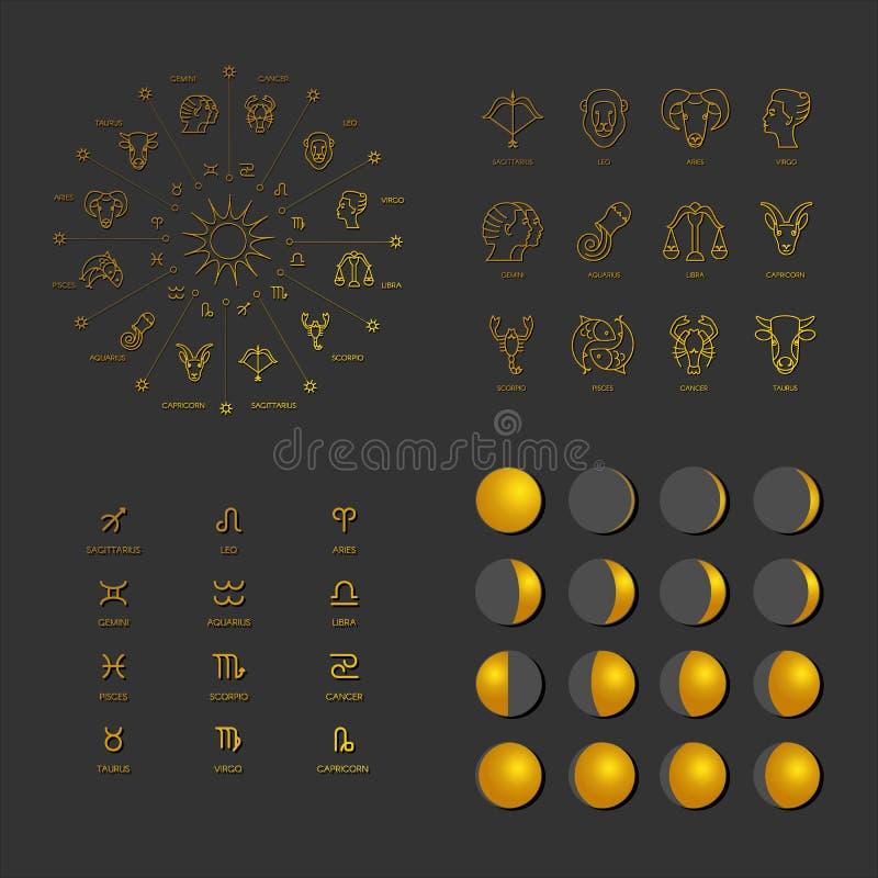 Μεγάλο σύνολο αστρολογικών συμβόλων ελεύθερη απεικόνιση δικαιώματος