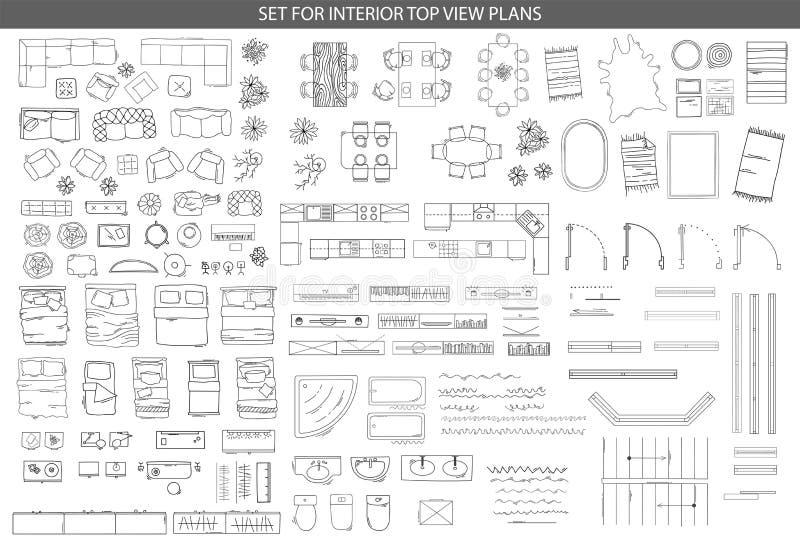 Μεγάλο σύνολο εικονιδίων για τα εσωτερικά τοπ σχέδια άποψης απεικόνιση αποθεμάτων