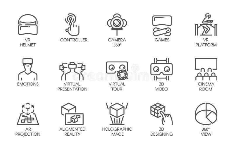 Μεγάλο σύνολο εικονιδίων γραμμών του αυξημένου μέλλοντος τεχνολογίας του AR πραγματικότητας ψηφιακού 15 διανυσματικές ετικέτες πο απεικόνιση αποθεμάτων