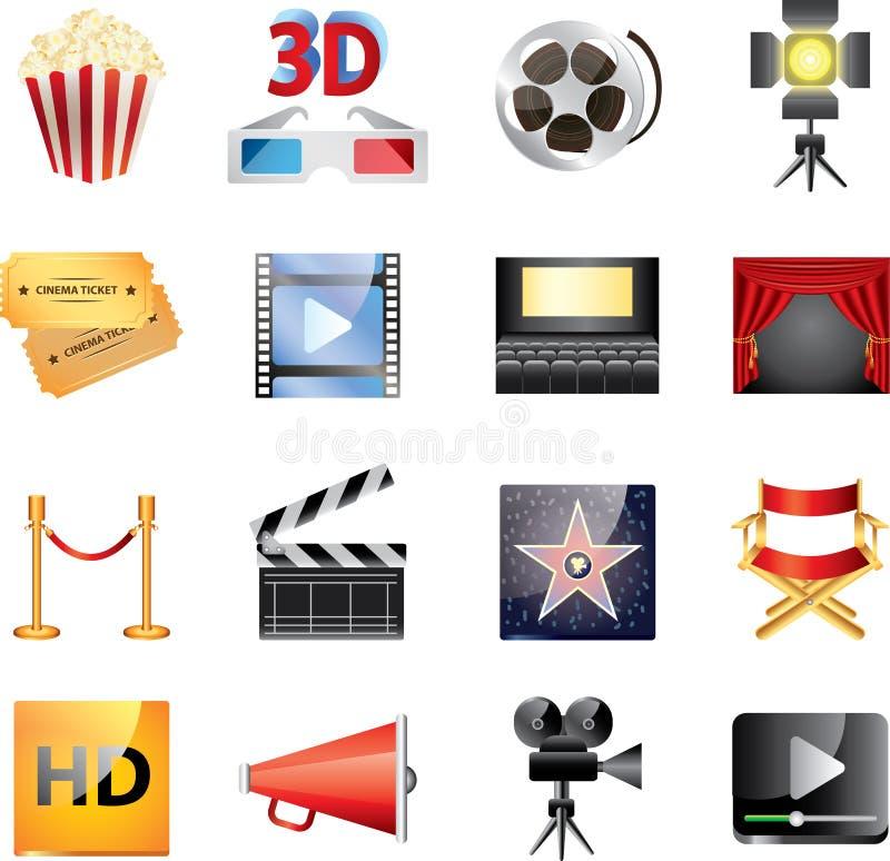Μεγάλο σύνολο εικονιδίων κινηματογράφων ελεύθερη απεικόνιση δικαιώματος