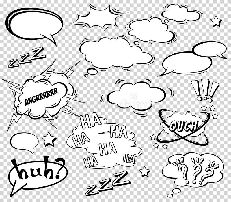 Μεγάλο σύνολο κινούμενων σχεδίων, κωμικές λεκτικές φυσαλίδες, κενά σύννεφα διαλόγου στο λαϊκό ύφος τέχνης Διανυσματική απεικόνιση διανυσματική απεικόνιση