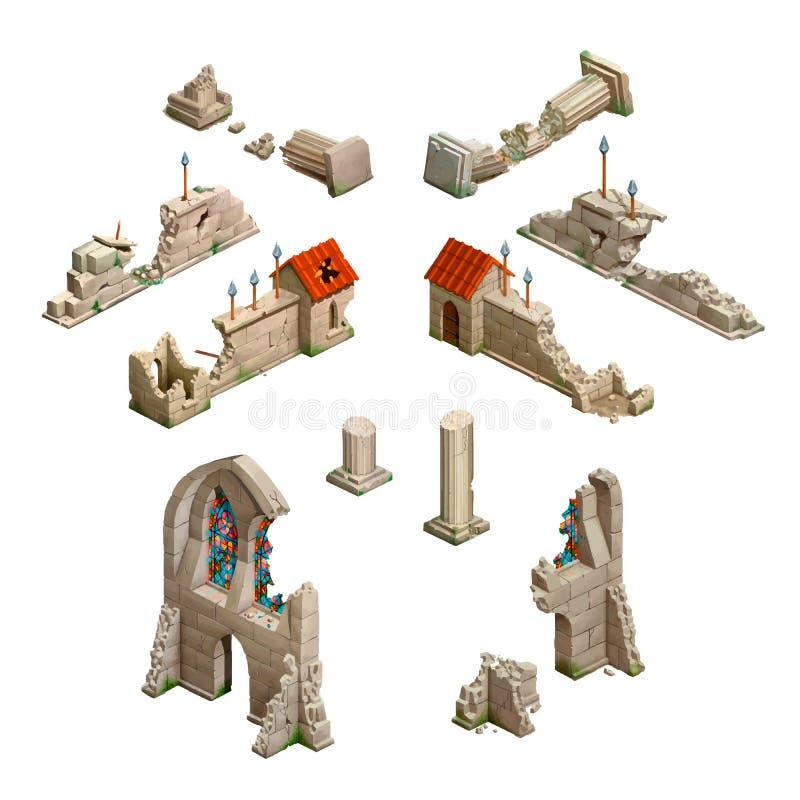 Μεγάλο σύνολο μεσαιωνικών κτηρίων, isometric τέχνη παιχνιδιών στο λευκό διανυσματική απεικόνιση