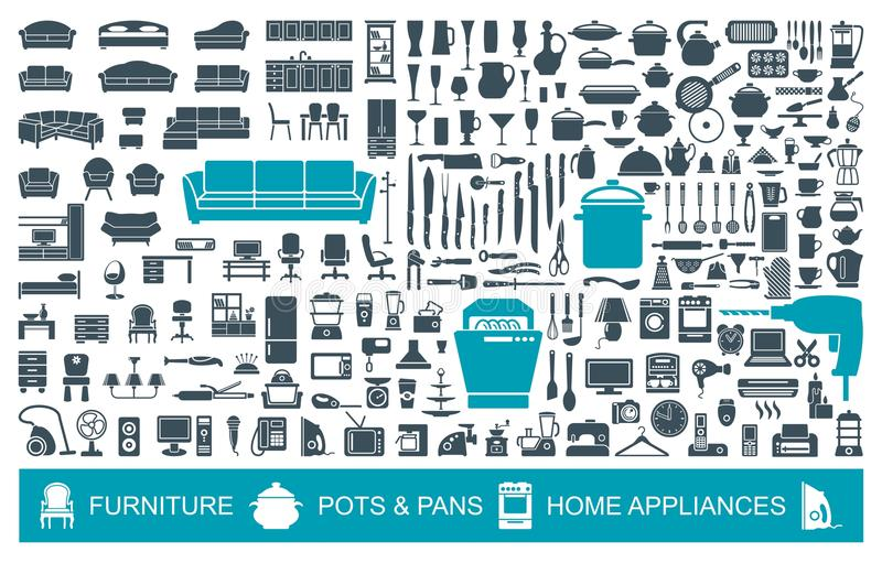 Μεγάλο σύνολο οικιακών στοιχείων ποιοτικών εικονιδίων Έπιπλα, σκεύος για την κουζίνα, συσκευές οικονομικοί δείκτες που γίνονται β ελεύθερη απεικόνιση δικαιώματος