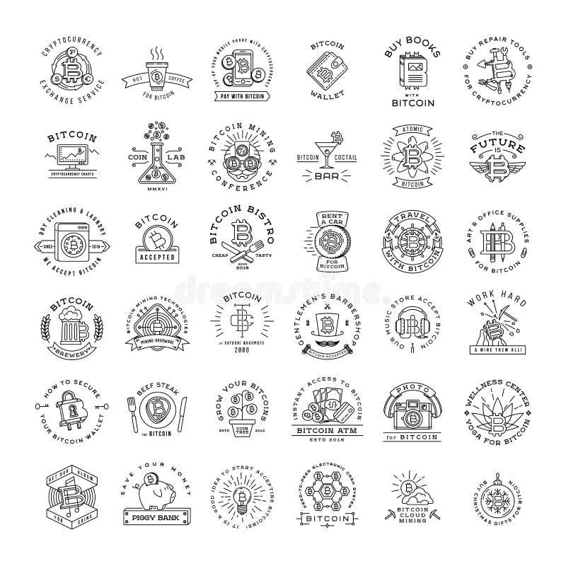 Μεγάλο σύνολο προτύπων λογότυπων Bitcoin Cryptocurrency ελεύθερη απεικόνιση δικαιώματος