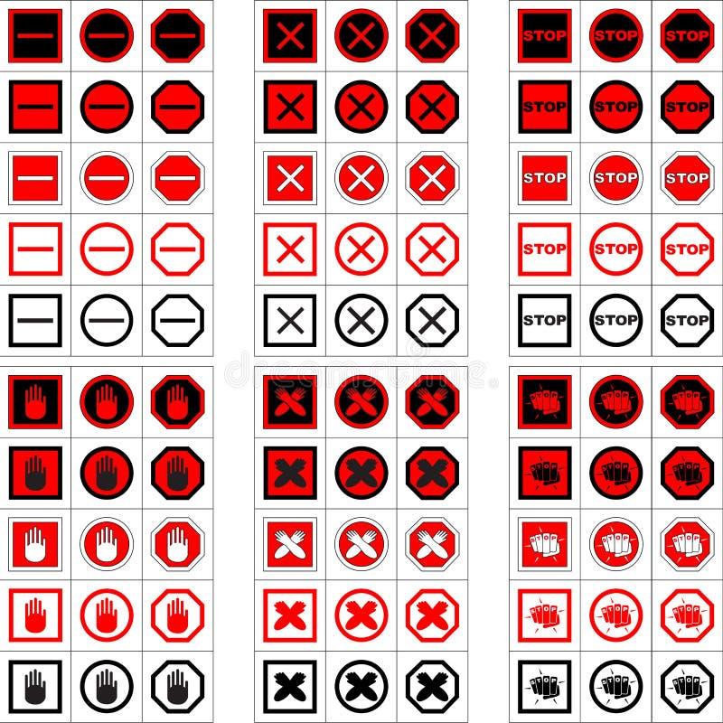 Μεγάλο σύνολο σημαδιών και εικονιδίων στάσεων στοκ εικόνες