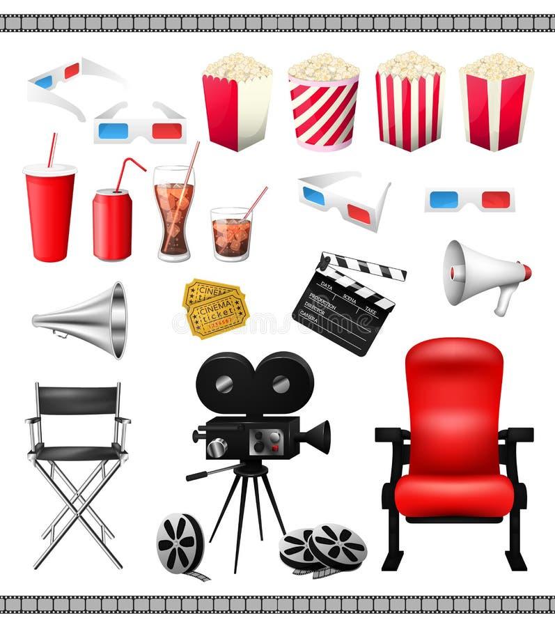 Μεγάλο σύνολο στοιχείων συλλογής του κινηματογράφου που απομονώνονται σε ένα άσπρο υπόβαθρο απεικόνιση αποθεμάτων
