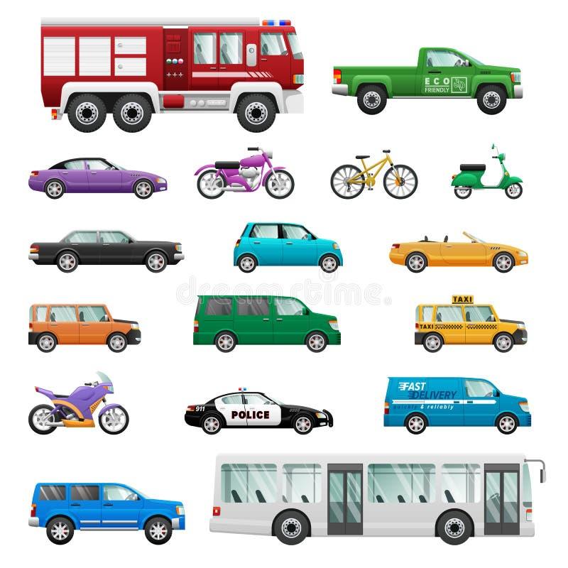Μεγάλο σύνολο τροχοφόρου μεταφοράς στο επίπεδο σχέδιο διανυσματική απεικόνιση