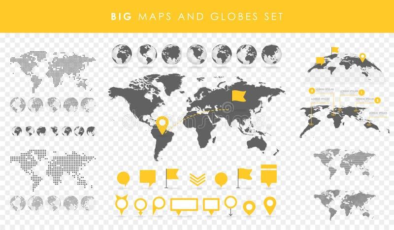 Μεγάλο σύνολο χαρτών και σφαιρών Συλλογή καρφιτσών Διαφορετικά αποτελέσματα Διαφανής διανυσματική απεικόνιση ελεύθερη απεικόνιση δικαιώματος