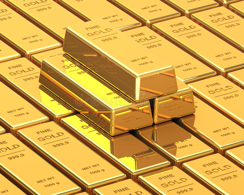 Μεγάλο σύνολο χρυσών φραγμών ελεύθερη απεικόνιση δικαιώματος