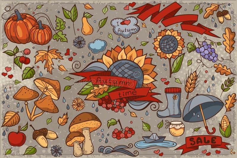 Μεγάλο σύνολο χρωματισμένων hand-drawn doodles στο θέμα φθινοπώρου απεικόνιση αποθεμάτων