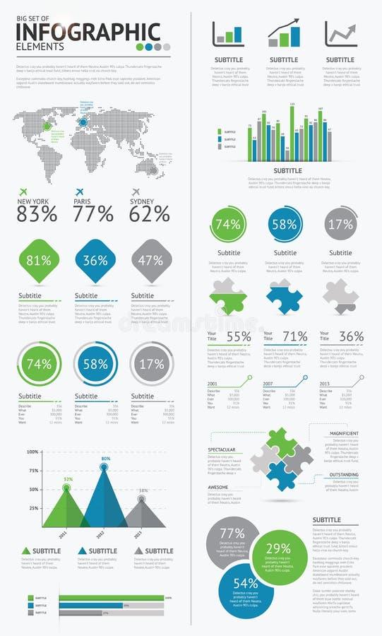 Μεγάλο σύνολο infographic μπλε επιχειρησιακών στοιχείων και  ελεύθερη απεικόνιση δικαιώματος