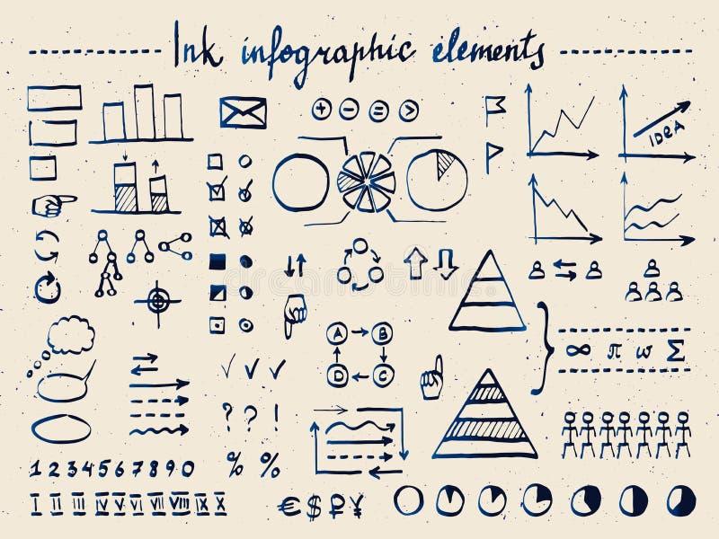 Μεγάλο σύνολο infographic στοιχείων και doodles διανυσματική απεικόνιση