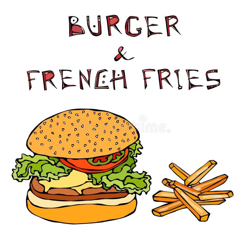 Μεγάλο χάμπουργκερ ή Cheeseburger με την τηγανισμένες πατάτα ή τις τηγανιτές πατάτες Burger εγγραφή η ανασκόπηση απομόνωσε το λευ διανυσματική απεικόνιση