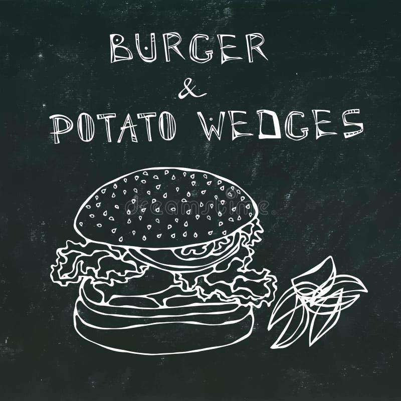 Μεγάλο χάμπουργκερ ή Cheeseburger με τις σφήνες πατατών Burger εγγραφή Απομονωμένος σε ένα μαύρο υπόβαθρο πινάκων κιμωλίας ρεαλισ διανυσματική απεικόνιση