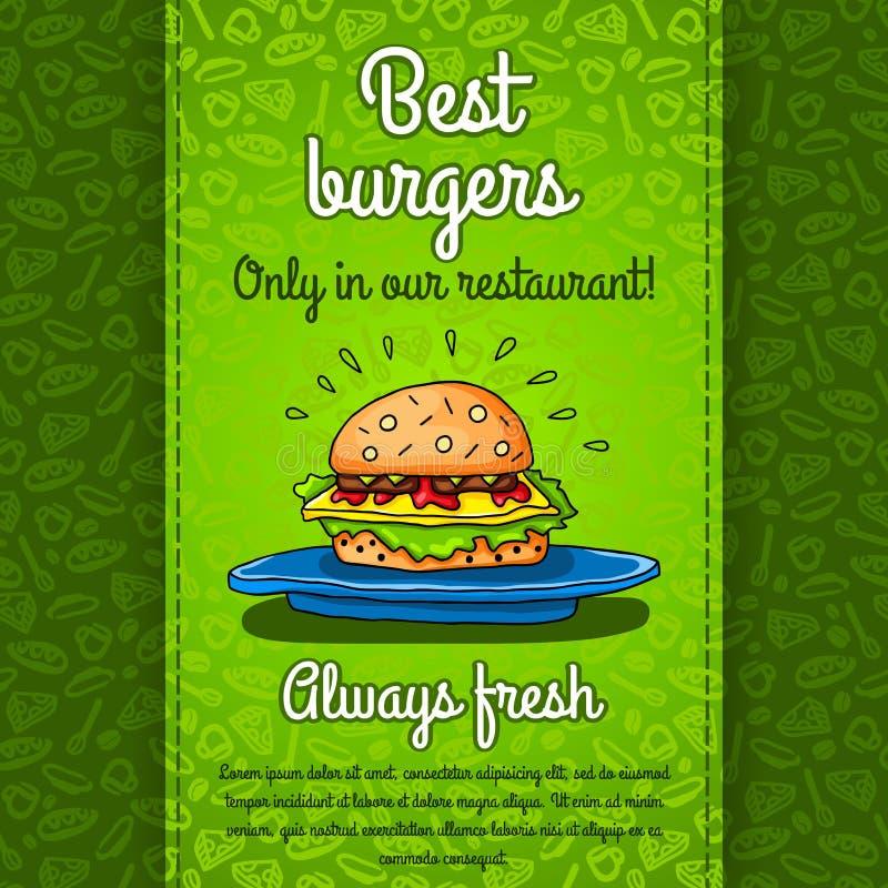 Μεγάλο χάμπουργκερ με το τυρί, σάλτσα, δύο burgers, μαρούλι, που βρίσκεται στο μεγάλο μπλε πιάτο Διανυσματική εργασία για τα ιπτά απεικόνιση αποθεμάτων
