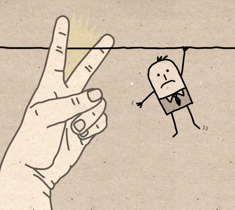 Μεγάλο χέρι - κόβοντας σημάδι ελεύθερη απεικόνιση δικαιώματος