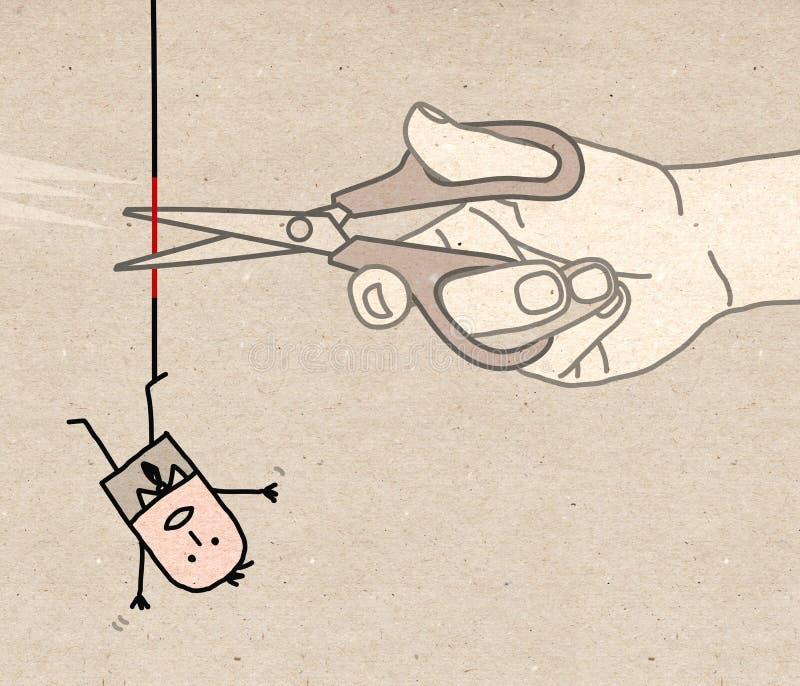 Μεγάλο χέρι - που κόβει το σχοινί διανυσματική απεικόνιση