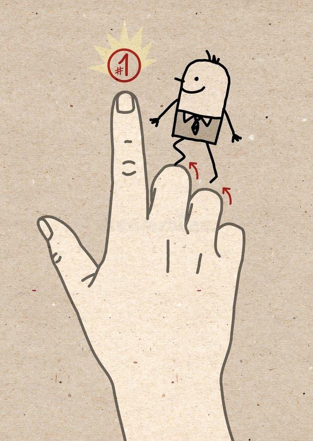 Μεγάλο χέρι - που πηγαίνει επάνω στην πρώτη θέση διανυσματική απεικόνιση
