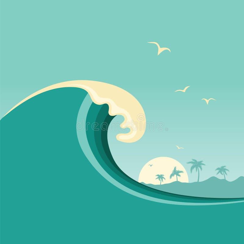 Μεγάλο ωκεάνιο κύμα και τροπικό νησί Διανυσματικό υπόβαθρο αφισών διανυσματική απεικόνιση