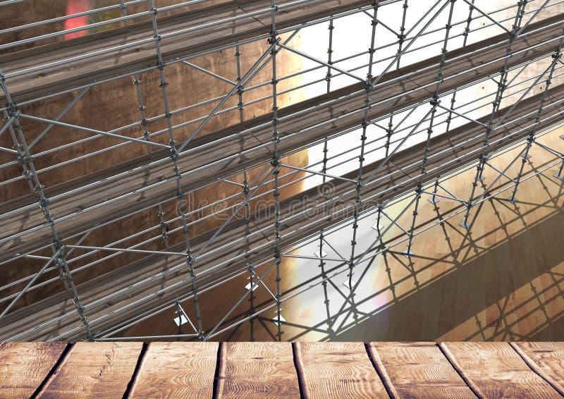 Μεγάλο δωμάτιο με το ξύλινο ράφι με τα τρισδιάστατα υλικά σκαλωσιάς διανυσματική απεικόνιση
