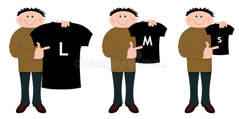 μεγέθη πουκάμισων διανυσματική απεικόνιση