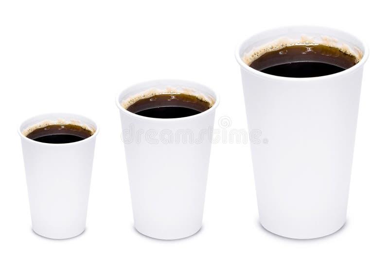 Μεγέθη φλυτζανιών καφέ στοκ εικόνες