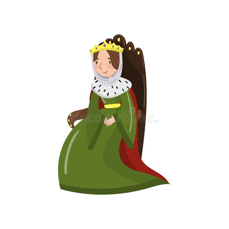 Μεγαλοπρεπής βασίλισσα στη χρυσή συνεδρίαση κορωνών στον ξύλινο θρόνο, το παραμύθι ή τη μεσαιωνική απεικόνιση κινούμενων σχεδίων  διανυσματική απεικόνιση