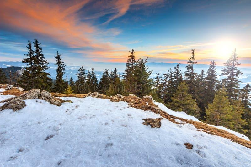 Μεγαλοπρεπές τοπίο ηλιοβασιλέματος και χειμώνα, Carpathians, Ρουμανία, Ευρώπη στοκ εικόνα με δικαίωμα ελεύθερης χρήσης