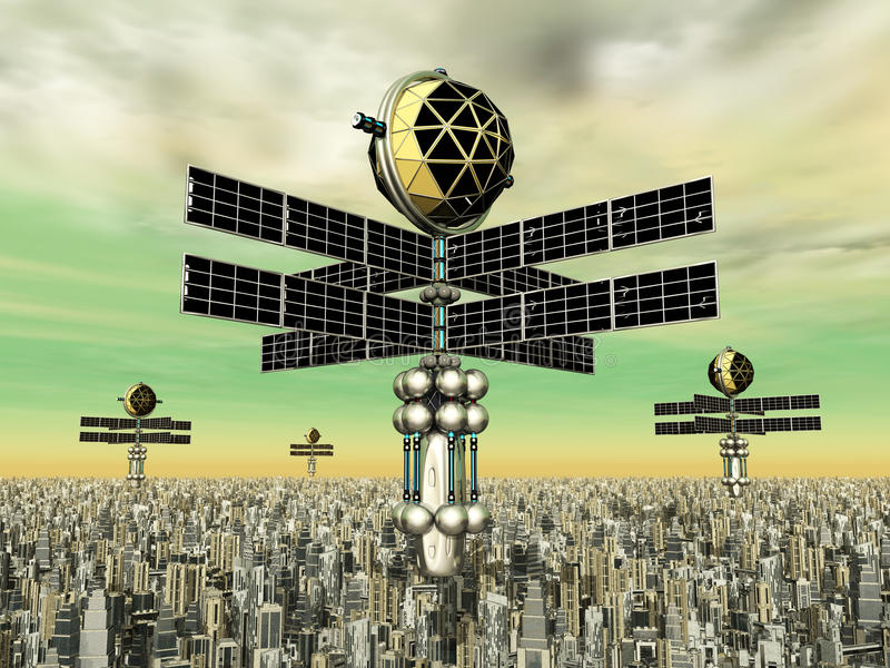 Μεγαλούπολη και διαστημικοί έλεγχοι διανυσματική απεικόνιση