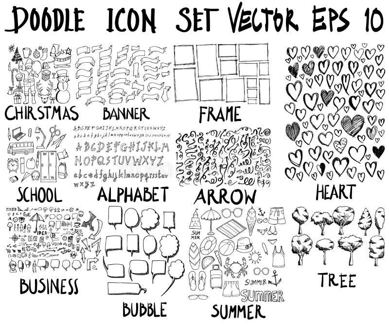 ΜΕΓΑ σύνολο doodles Έξοχη συλλογή των Χριστουγέννων, έμβλημα, fram απεικόνιση αποθεμάτων