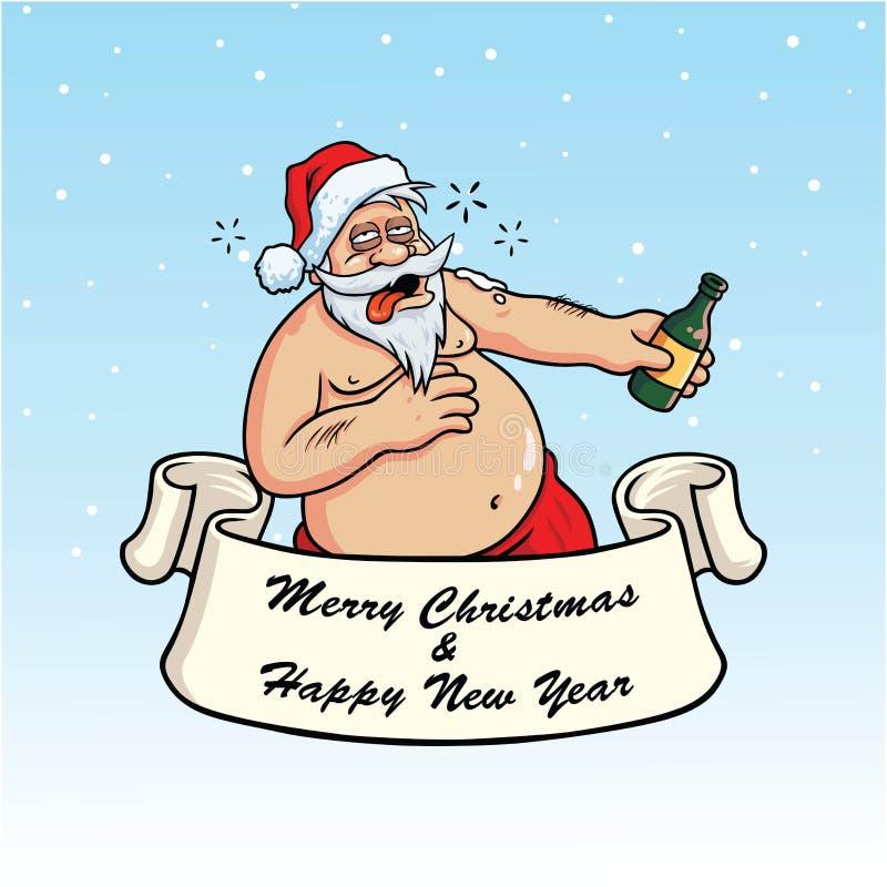 Μεθυσμένος Άγιος Βασίλης που πίνει Booze Διάνυσμα καρτών Χριστουγέννων στο μπλε υπόβαθρο ελεύθερη απεικόνιση δικαιώματος