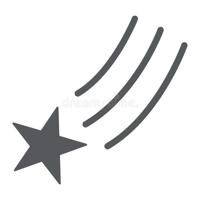 Μειωμένα εικονίδιο αστεριών glyph, νύχτα και διάστημα, σημάδι αστεριών πυροβολισμού, διανυσματική γραφική παράσταση, ένα στερεό σ διανυσματική απεικόνιση