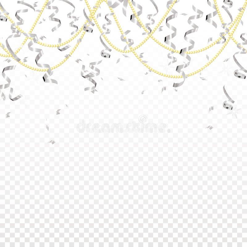 Μειωμένες ασημένιες ελικοειδείς και χρυσές χάντρες στο διαφανές υπόβαθρο Λάμψτε κορδέλλα Σχέδιο διακοπών Διάνυσμα ρεαλιστικό ελεύθερη απεικόνιση δικαιώματος