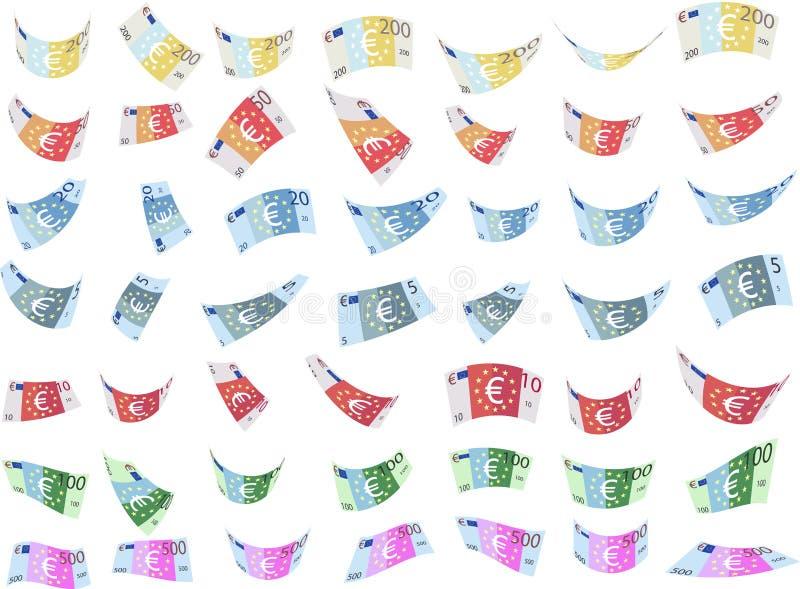 Μειωμένες μίμησης ευρο- μορφές τραπεζογραμματίων εγγράφου (διάνυσμα) απεικόνιση αποθεμάτων