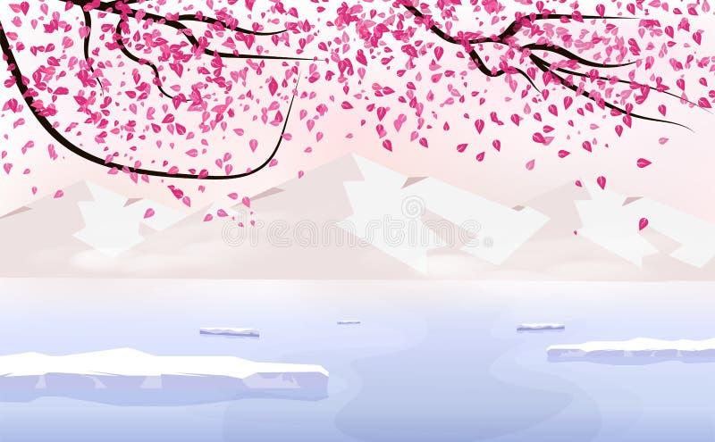 Μειωμένη διασπορά Sakura, τοπίο με το βουνό πάγου, εποχής αλλαγής διακοπών ιαπωνική έννοια αφισών υποβάθρου διακινούμενη, διάνυσμ ελεύθερη απεικόνιση δικαιώματος