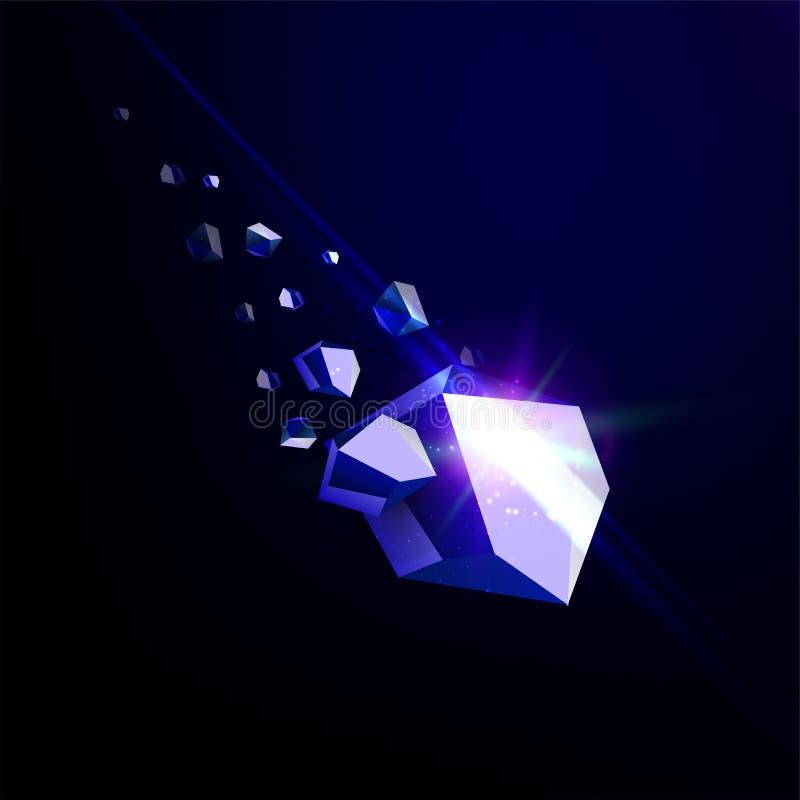 Μειωμένη πέτρα ομορφιάς, σάπφειρος, διαστημικά συντρίμμια, μπλε που καταρρέει την αστεροειδή, διανυσματική τρισδιάστατη απεικόνισ απεικόνιση αποθεμάτων