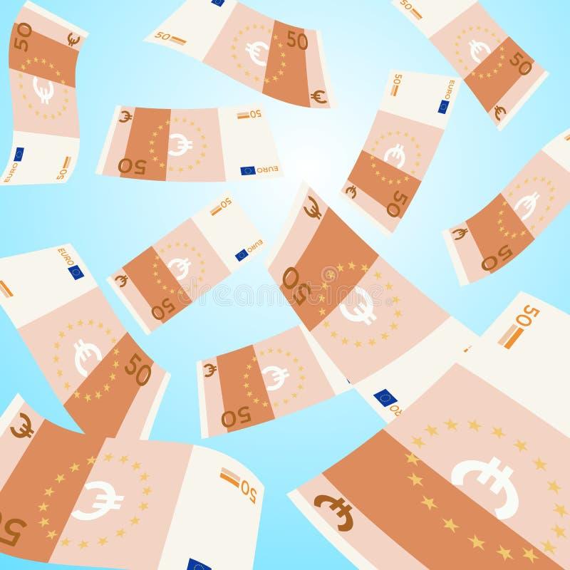 μειωμένος ουρανός χρημάτων 50 ευρο- πτώση τραπεζογραμματίων απεικόνιση αποθεμάτων
