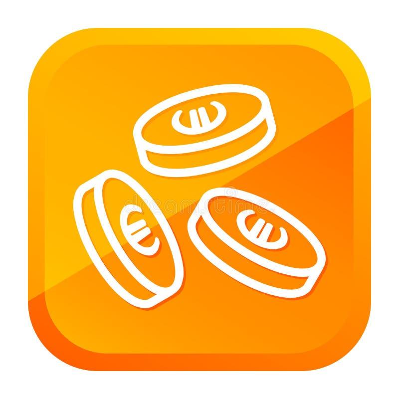 Μειωμένο ευρο- εικονίδιο νομισμάτων Κίτρινο κουμπί r ελεύθερη απεικόνιση δικαιώματος