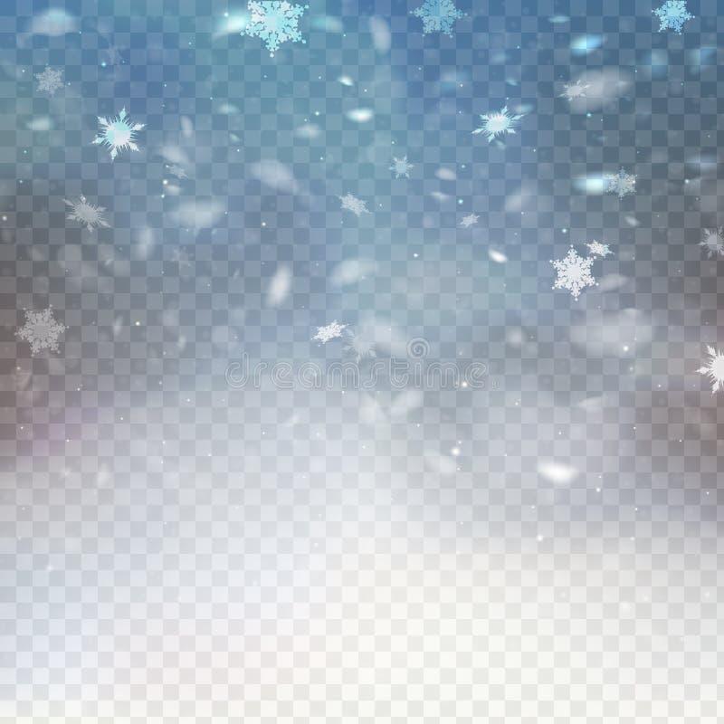 Μειωμένο χιόνι απεικόνισης αποθεμάτων διανυσματικό Snowflakes, χιονοπτώσεις ανασκόπηση διαφανής Πτώση του χιονιού Νιφάδα του χιον απεικόνιση αποθεμάτων