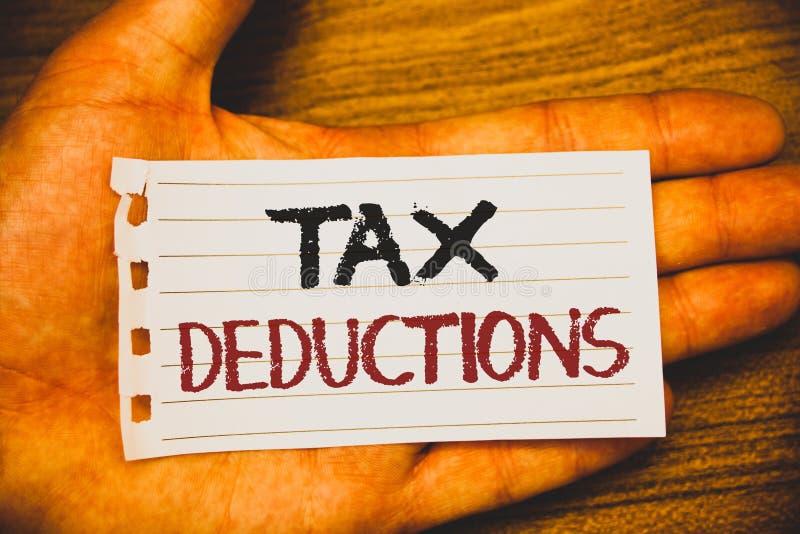 Μειώσεις φόρου γραψίματος κειμένων γραφής Η έννοια που σημαίνει τη μείωση στα χρήματα αποταμίευσης φορολογικής επένδυσης επιστρέφ στοκ εικόνες