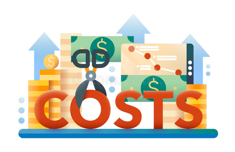 Μειώστε τις δαπάνες - επίπεδο έμβλημα ιστοχώρου σχεδίου απεικόνιση αποθεμάτων