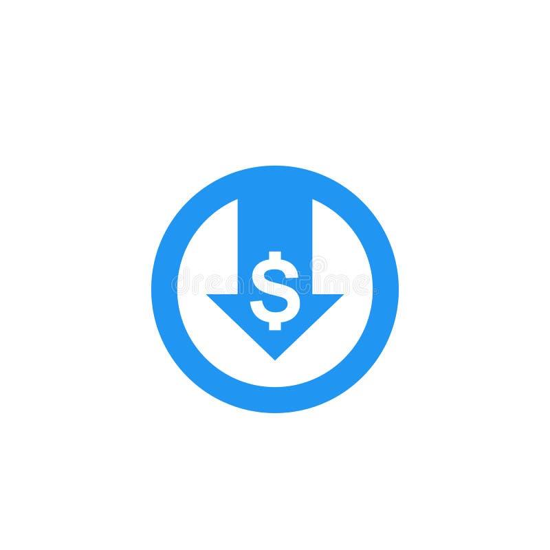 Μειώστε τις δαπάνες, διανυσματικό εικονίδιο απεικόνιση αποθεμάτων