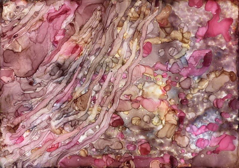 Μελάνι οινοπνεύματος, ακρυλικός, ζωηρόχρωμο αφηρημένο υπόβαθρο watercolor στοκ εικόνα