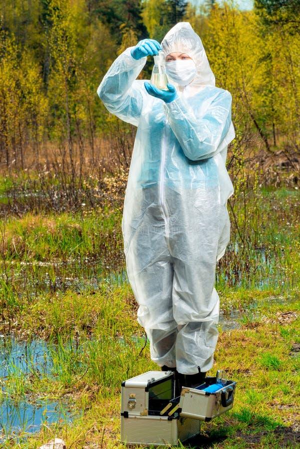 μελέτη οικολόγων της σύστασης του νερού στη λίμνη, ένα πορτρέτο στη φύση ενώ στοκ εικόνες με δικαίωμα ελεύθερης χρήσης