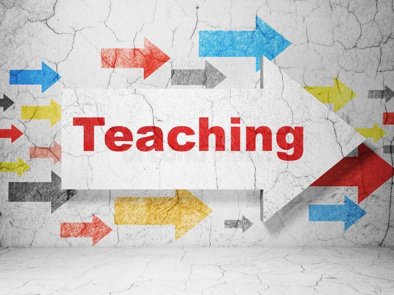Μελέτη της έννοιας: βέλος με τη διδασκαλία στο υπόβαθρο τοίχων grunge διανυσματική απεικόνιση