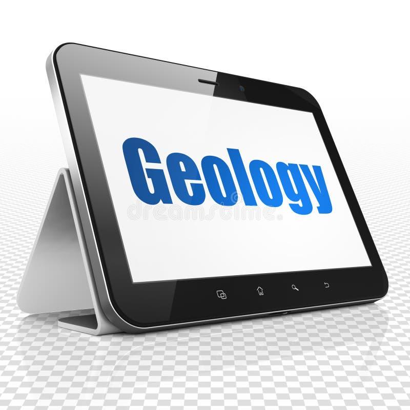 Μελέτη της έννοιας: Υπολογιστής ταμπλετών με τη γεωλογία στην επίδειξη διανυσματική απεικόνιση