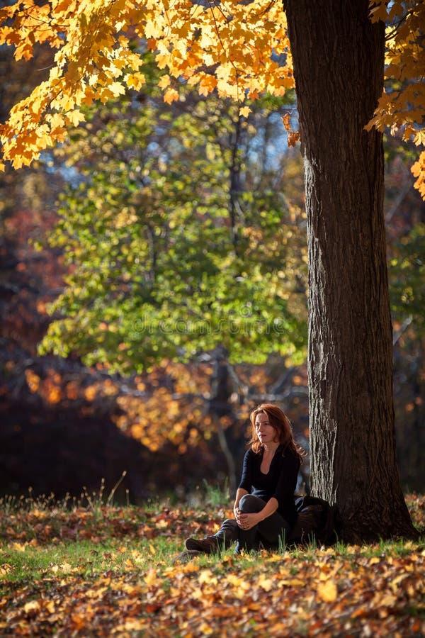 Μελαγχολικά υπόλοιπα γυναικών κάτω από ένα δέντρο στοκ εικόνες