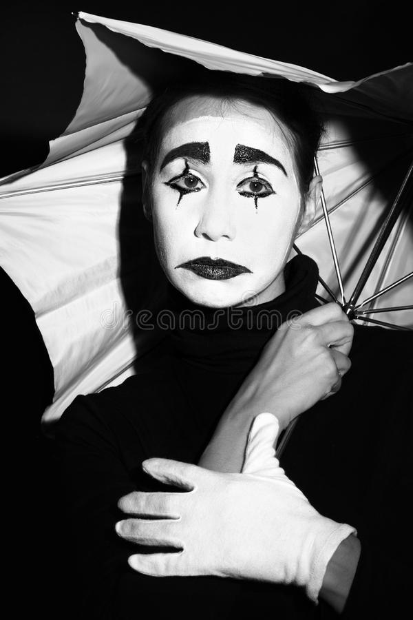 μελαγχολική ομπρέλα mime στοκ φωτογραφίες